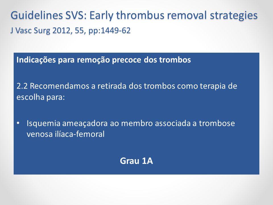 Guidelines SVS: Early thrombus removal strategies J Vasc Surg 2012, 55, pp:1449-62 Indicações para remoção precoce dos trombos 2.2 Recomendamos a reti