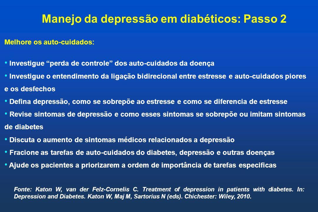 Melhore os auto-cuidados: Investigue perda de controle dos auto-cuidados da doença Investigue o entendimento da ligação bidirecional entre estresse e