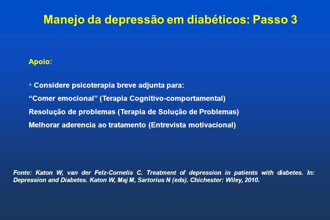 Apoio: Considere psicoterapia breve adjunta para: Comer emocional (Terapia Cognitivo-comportamental) Resolução de problemas (Terapia de Solução de Pro