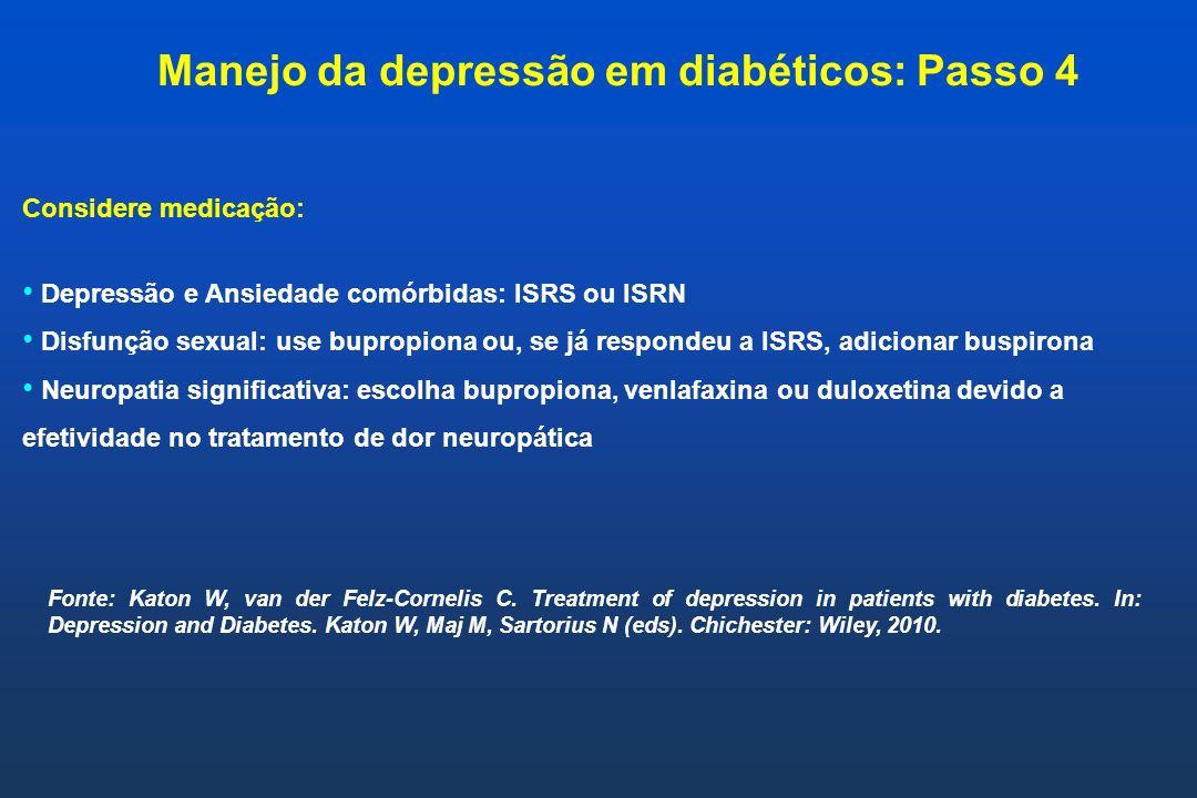 Considere medicação: Depressão e Ansiedade comórbidas: ISRS ou ISRN Disfunção sexual: use bupropiona ou, se já respondeu a ISRS, adicionar buspirona N