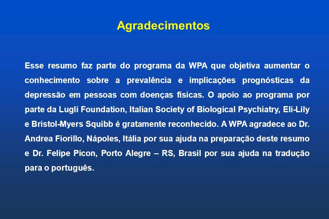Esse resumo faz parte do programa da WPA que objetiva aumentar o conhecimento sobre a prevalência e implicações prognósticas da depressão em pessoas c