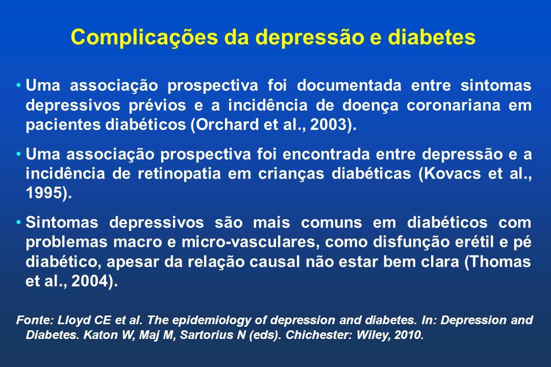 Complicações da depressão e diabetes Uma associação prospectiva foi documentada entre sintomas depressivos prévios e a incidência de doença coronarian