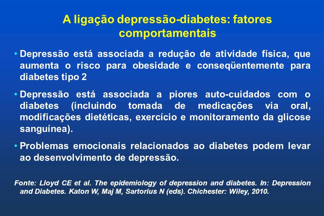 A ligação depressão-diabetes: fatores biológicos Depressão é um fenótipo para uma variedade de transtornos relacionados ao estresse que levam a uma ativação do eixo hipotálamo-pituitária-adrenal, a uma desregulacão do sistema nervoso autonômico e a uma liberação de citocinas pro- inflamatórias, por fim resultando em resistência a insulina.