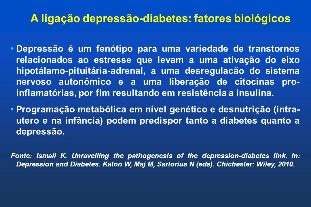 A ligação depressão-diabetes: fatores biológicos Depressão é um fenótipo para uma variedade de transtornos relacionados ao estresse que levam a uma at