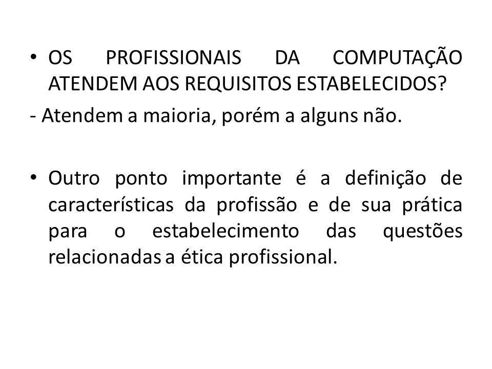 OS PROFISSIONAIS DA COMPUTAÇÃO ATENDEM AOS REQUISITOS ESTABELECIDOS.