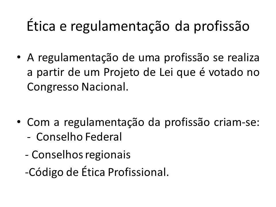 Ética e regulamentação da profissão A regulamentação de uma profissão se realiza a partir de um Projeto de Lei que é votado no Congresso Nacional.