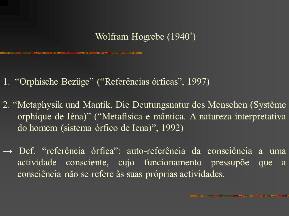 Wolfram Hogrebe (1940 * ) 1. Orphische Bezüge (Referências órficas, 1997) 2. Metaphysik und Mantik. Die Deutungsnatur des Menschen (Système orphique d