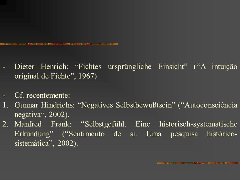 -Dieter Henrich: Fichtes ursprüngliche Einsicht (A intuição original de Fichte, 1967) -Cf. recentemente: 1.Gunnar Hindrichs: Negatives Selbstbewußtsei