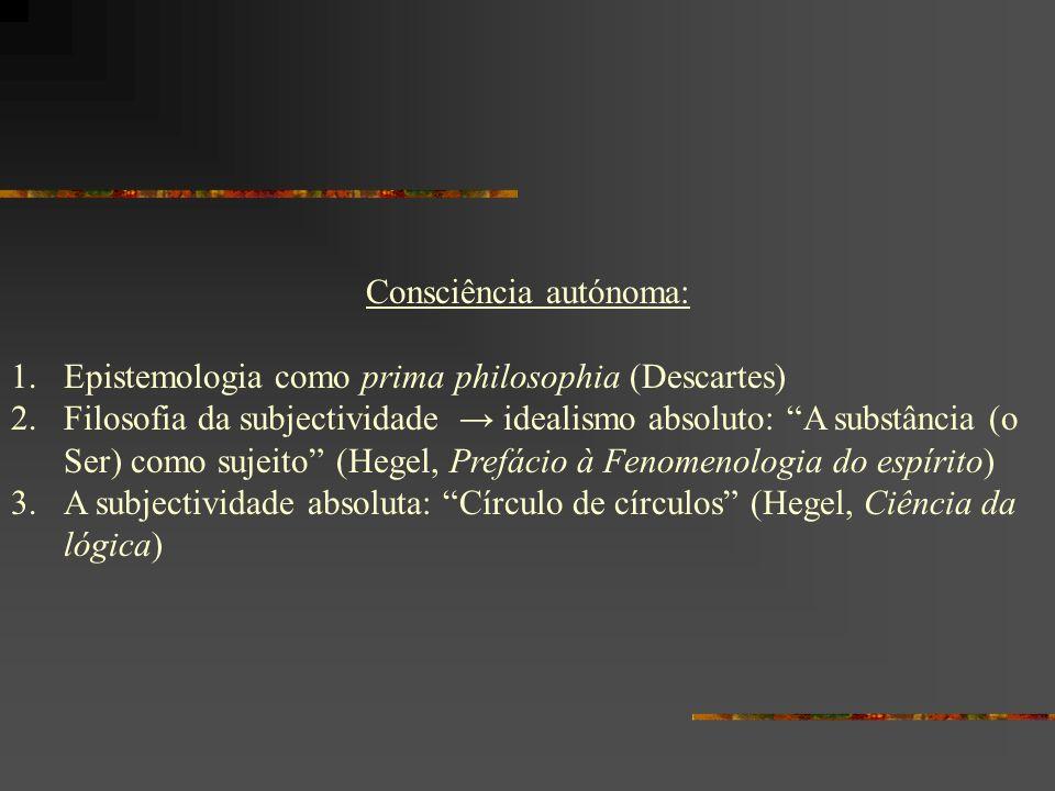 Consciência autónoma: 1.Epistemologia como prima philosophia (Descartes) 2.Filosofia da subjectividade idealismo absoluto: A substância (o Ser) como s
