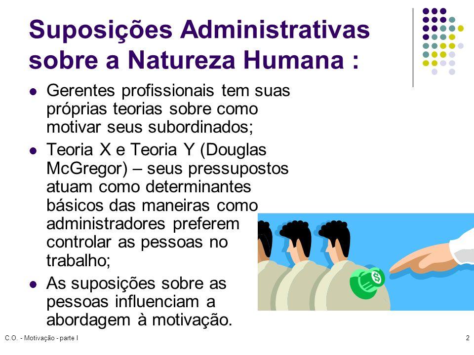 C.O. - Motivação - parte I2 Suposições Administrativas sobre a Natureza Humana : Gerentes profissionais tem suas próprias teorias sobre como motivar s