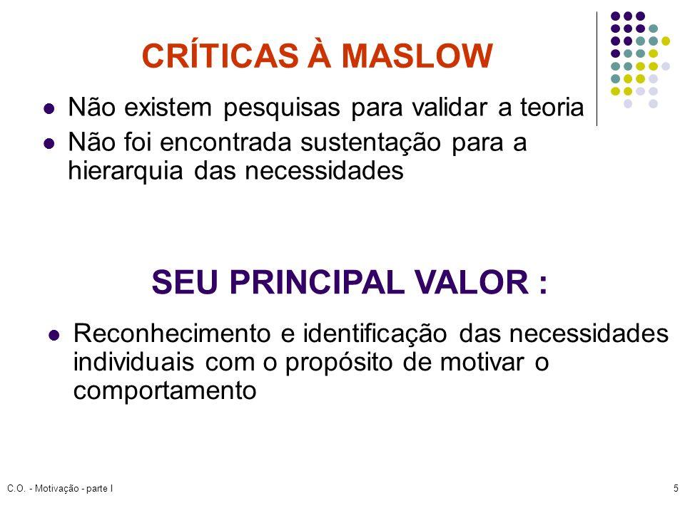 C.O. - Motivação - parte I5 CRÍTICAS À MASLOW Não existem pesquisas para validar a teoria Não foi encontrada sustentação para a hierarquia das necessi