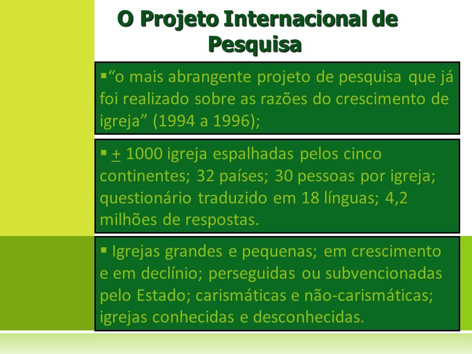 o mais abrangente projeto de pesquisa que já foi realizado sobre as razões do crescimento de igreja (1994 a 1996); O Projeto Internacional de Pesquisa