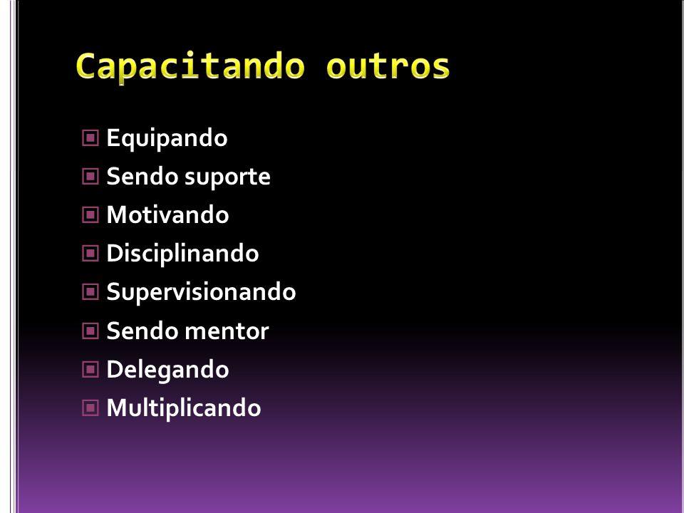 Equipando Sendo suporte Motivando Disciplinando Supervisionando Sendo mentor Delegando Multiplicando