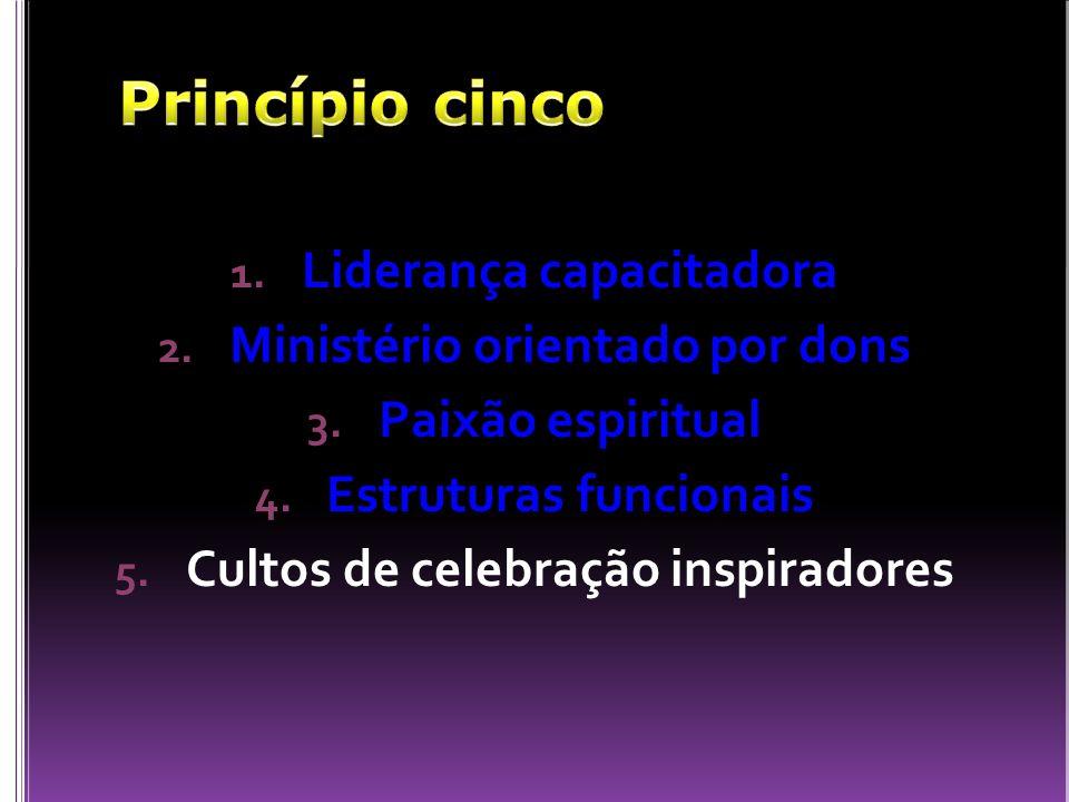 1. Liderança capacitadora 2. Ministério orientado por dons 3. Paixão espiritual 4. Estruturas funcionais 5. Cultos de celebração inspiradores
