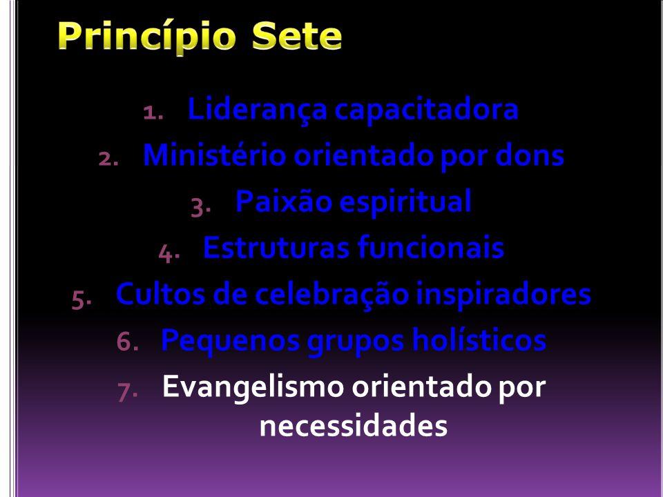 1. Liderança capacitadora 2. Ministério orientado por dons 3. Paixão espiritual 4. Estruturas funcionais 5. Cultos de celebração inspiradores 6. Peque