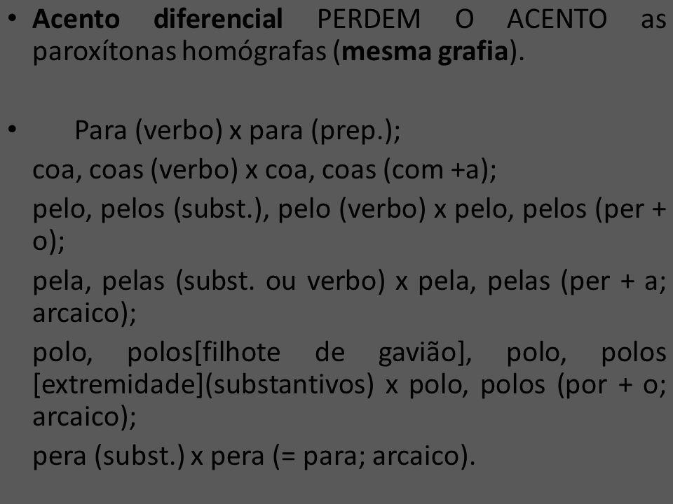 Acento diferencial PERDEM O ACENTO as paroxítonas homógrafas (mesma grafia).