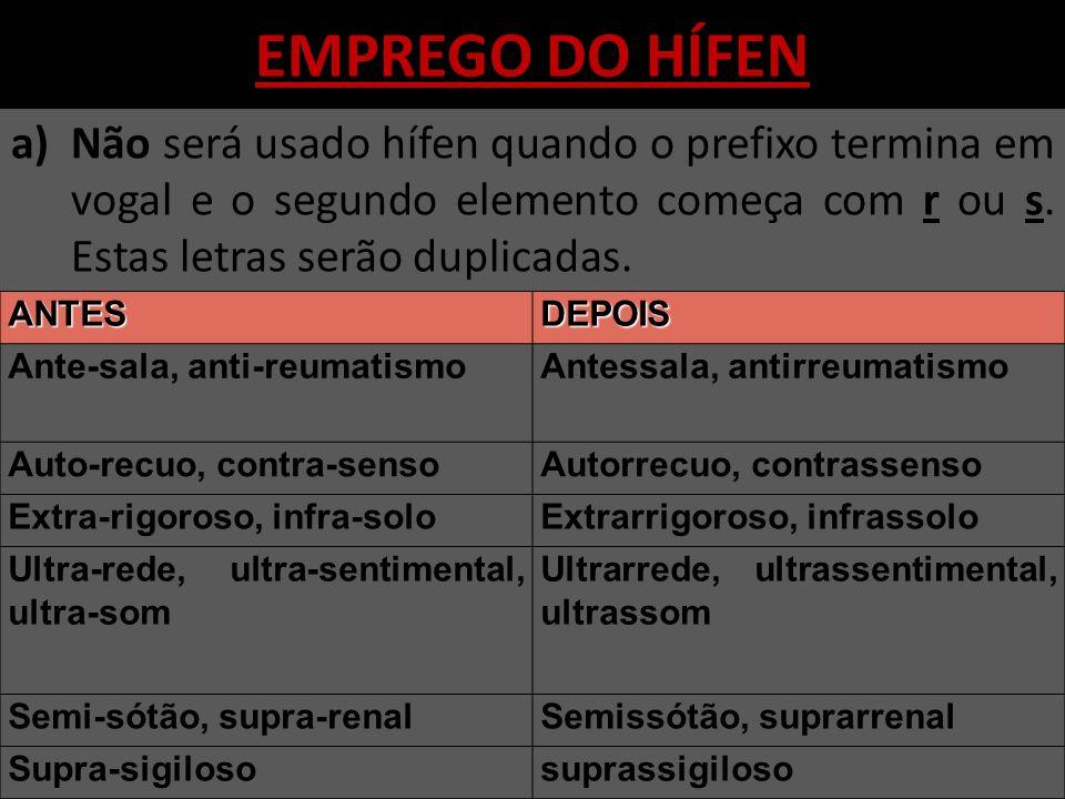 EMPREGO DO HÍFEN a)Não será usado hífen quando o prefixo termina em vogal e o segundo elemento começa com r ou s.