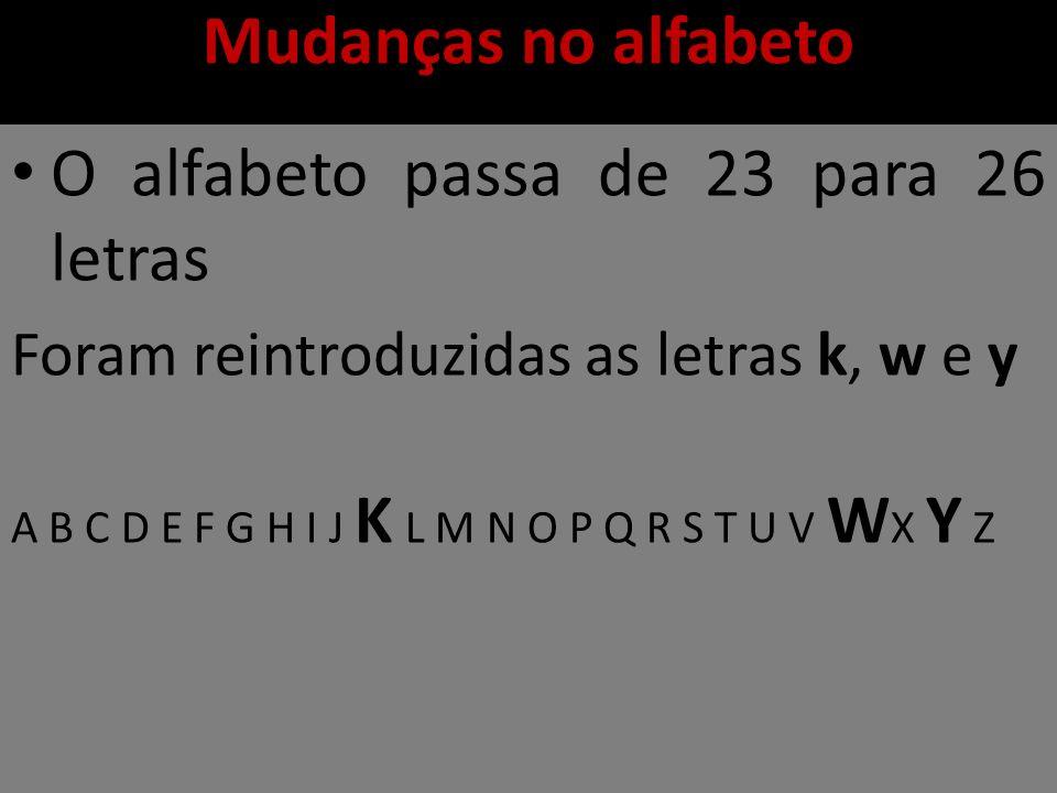 Mudanças no alfabeto O alfabeto passa de 23 para 26 letras Foram reintroduzidas as letras k, w e y A B C D E F G H I J K L M N O P Q R S T U V W X Y Z