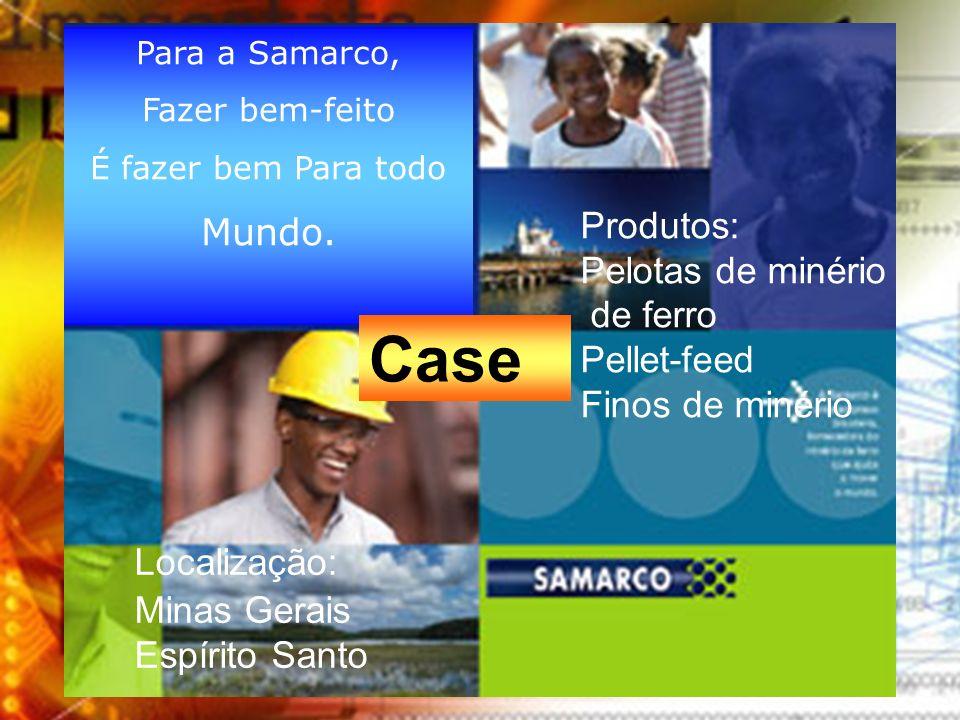 Localização: Minas Gerais Espírito Santo Produtos: Pelotas de minério de ferro Pellet-feed Finos de minério Para a Samarco, Fazer bem-feito É fazer be