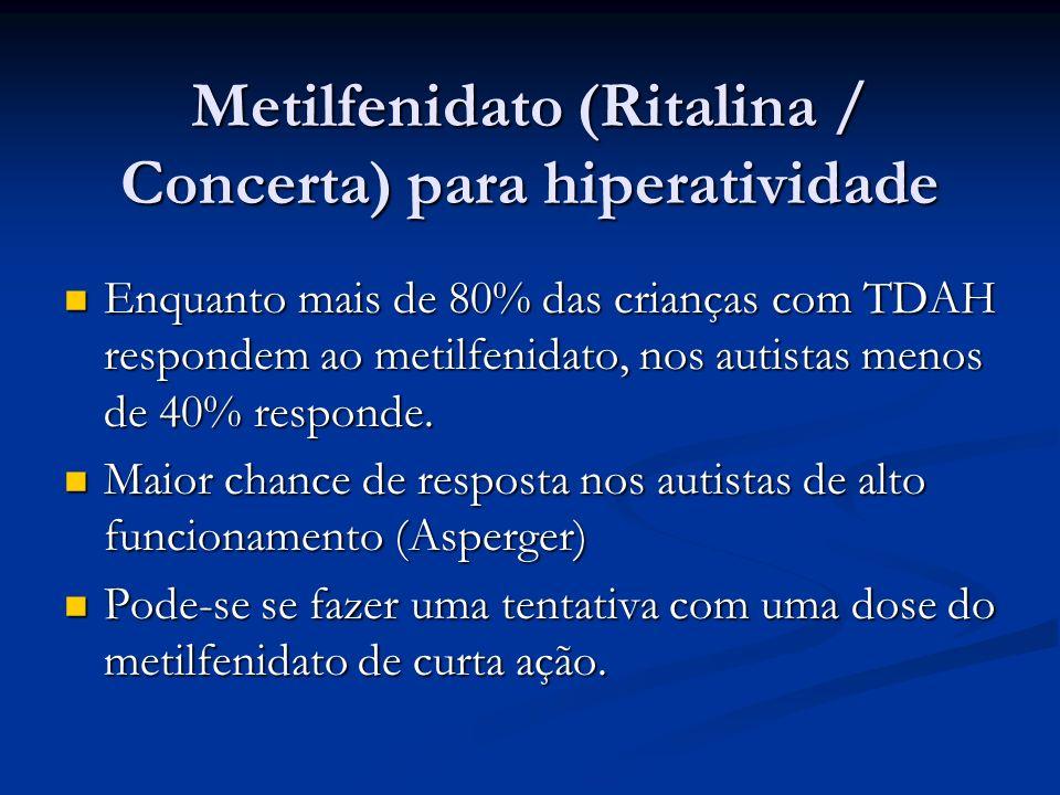 Metilfenidato (Ritalina / Concerta) para hiperatividade Enquanto mais de 80% das crianças com TDAH respondem ao metilfenidato, nos autistas menos de 4