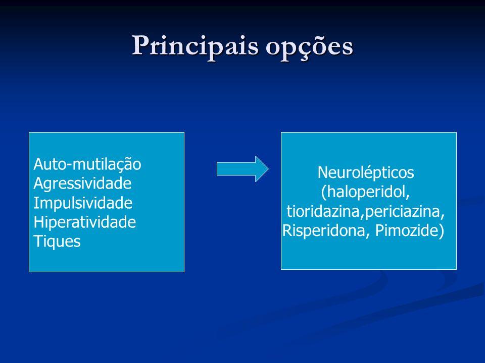 Principais opções Auto-mutilação Agressividade Impulsividade Hiperatividade Tiques Neurolépticos (haloperidol, tioridazina,periciazina, Risperidona, P