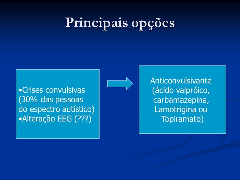 Principais opções Crises convulsivas (30% das pessoas do espectro autístico) Alteração EEG (???) Anticonvulsivante (ácido valpróico, carbamazepina, La