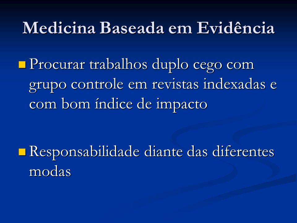 Medicina Baseada em Evidência Procurar trabalhos duplo cego com grupo controle em revistas indexadas e com bom índice de impacto Procurar trabalhos du