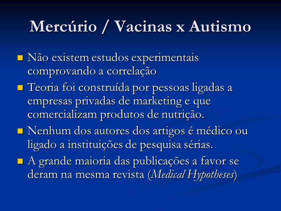 Mercúrio / Vacinas x Autismo Não existem estudos experimentais comprovando a correlação Não existem estudos experimentais comprovando a correlação Teo