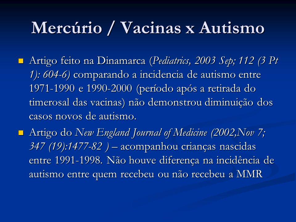 Mercúrio / Vacinas x Autismo Artigo feito na Dinamarca (Pediatrics, 2003 Sep; 112 (3 Pt 1): 604-6) comparando a incidencia de autismo entre 1971-1990