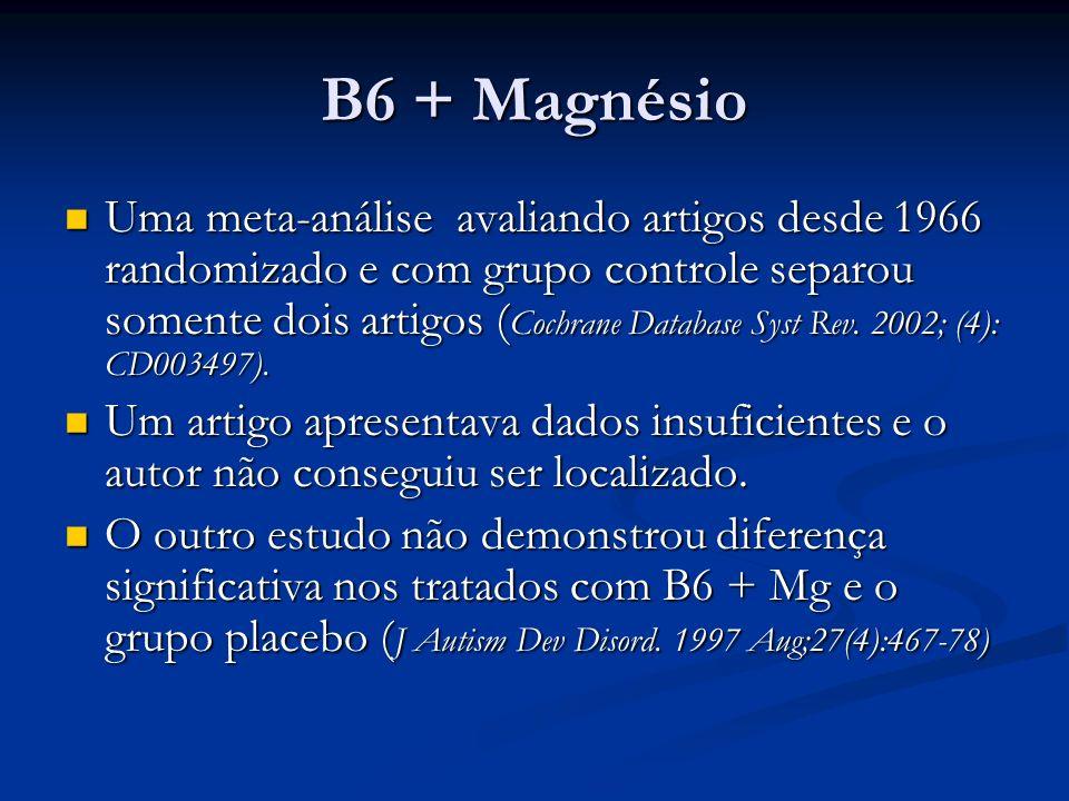 B6 + Magnésio Uma meta-análise avaliando artigos desde 1966 randomizado e com grupo controle separou somente dois artigos ( Cochrane Database Syst Rev