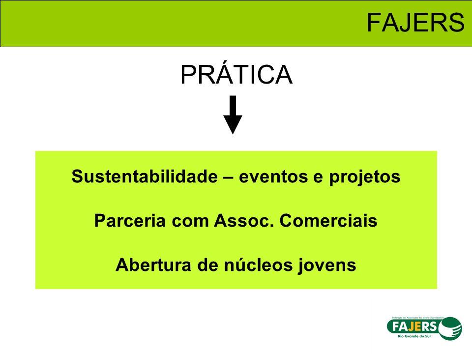 FAJERS Sustentabilidade – eventos e projetos Parceria com Assoc. Comerciais Abertura de núcleos jovens PRÁTICA