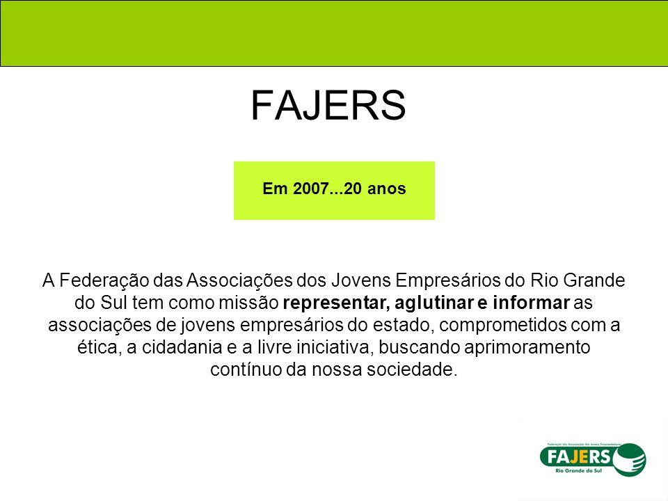FAJERS Em 2007...20 anos A Federação das Associações dos Jovens Empresários do Rio Grande do Sul tem como missão representar, aglutinar e informar as