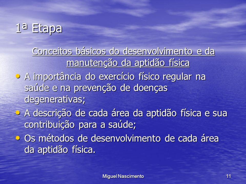 Miguel Nascimento11 1ª Etapa Conceitos básicos do desenvolvimento e da manutenção da aptidão física A importância do exercício físico regular na saúde