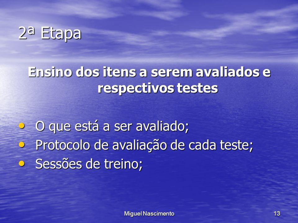 Miguel Nascimento13 2ª Etapa Ensino dos itens a serem avaliados e respectivos testes O que está a ser avaliado; O que está a ser avaliado; Protocolo d