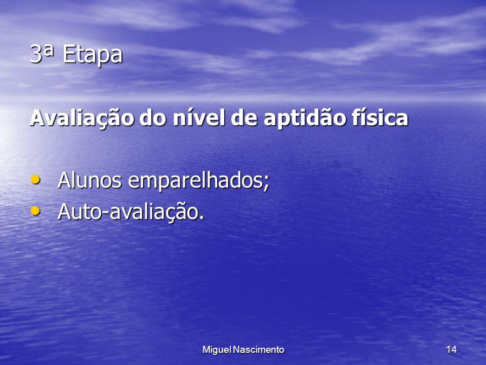 Miguel Nascimento14 3ª Etapa Avaliação do nível de aptidão física Alunos emparelhados; Alunos emparelhados; Auto-avaliação. Auto-avaliação.