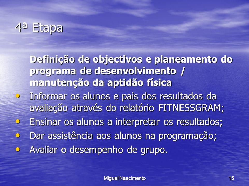 Miguel Nascimento15 4ª Etapa Definição de objectivos e planeamento do programa de desenvolvimento / manutenção da aptidão física Informar os alunos e