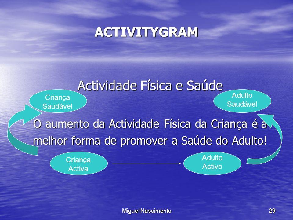 Miguel Nascimento29 ACTIVITYGRAM Actividade Física e Saúde O aumento da Actividade Física da Criança é a melhor forma de promover a Saúde do Adulto! C
