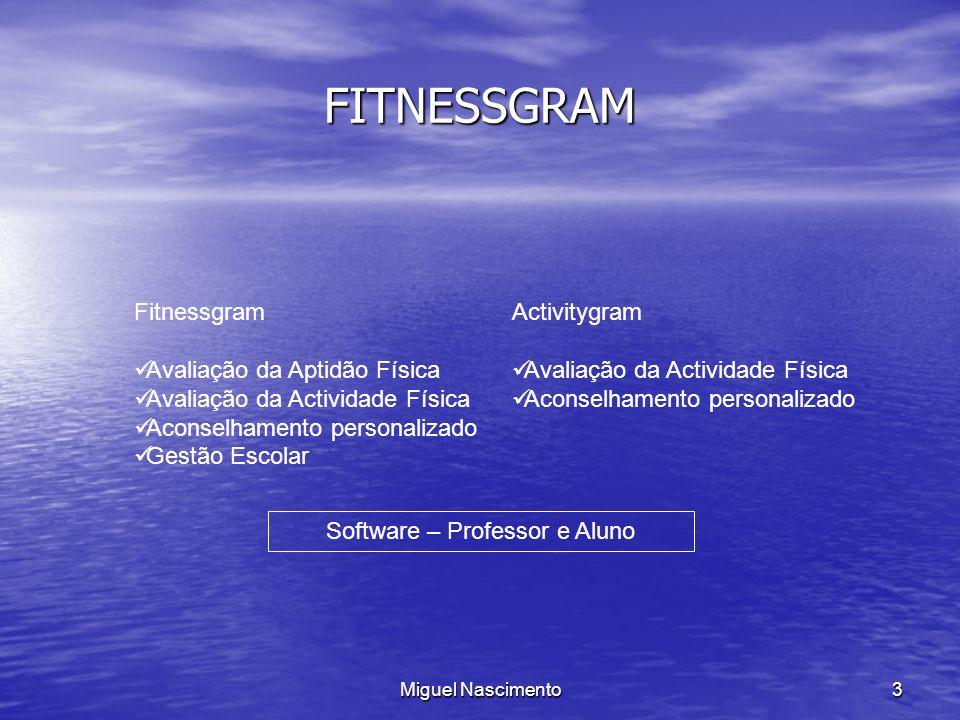 Miguel Nascimento3 FITNESSGRAM Fitnessgram Avaliação da Aptidão Física Avaliação da Actividade Física Aconselhamento personalizado Gestão Escolar Acti
