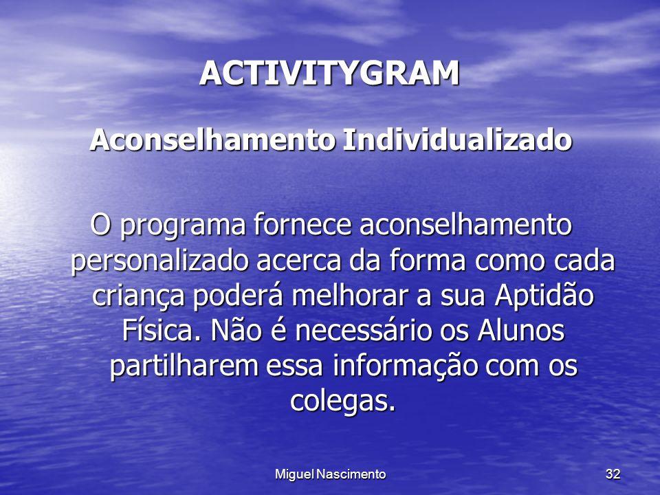 Miguel Nascimento32 ACTIVITYGRAM Aconselhamento Individualizado O programa fornece aconselhamento personalizado acerca da forma como cada criança pode