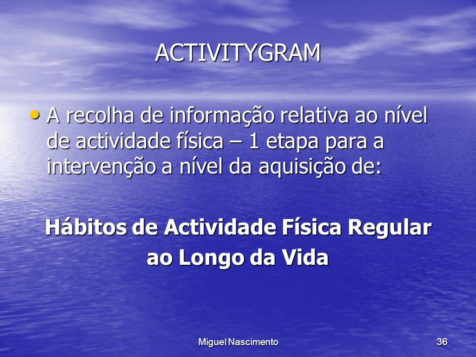 Miguel Nascimento36 ACTIVITYGRAM A recolha de informação relativa ao nível de actividade física – 1 etapa para a intervenção a nível da aquisição de: