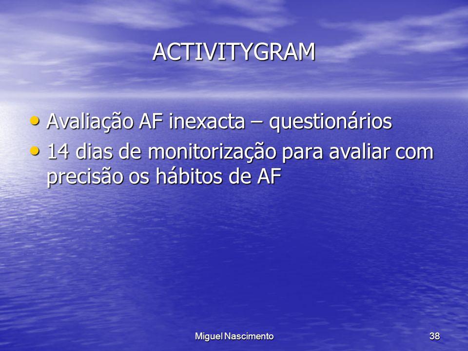 Miguel Nascimento38 ACTIVITYGRAM Avaliação AF inexacta – questionários Avaliação AF inexacta – questionários 14 dias de monitorização para avaliar com