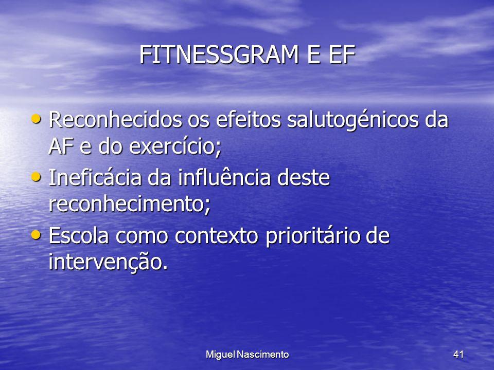 Miguel Nascimento41 FITNESSGRAM E EF Reconhecidos os efeitos salutogénicos da AF e do exercício; Reconhecidos os efeitos salutogénicos da AF e do exer