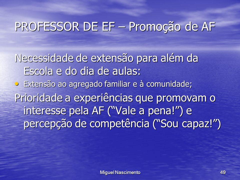 Miguel Nascimento49 PROFESSOR DE EF – Promoção de AF Necessidade de extensão para além da Escola e do dia de aulas: Extensão ao agregado familiar e à