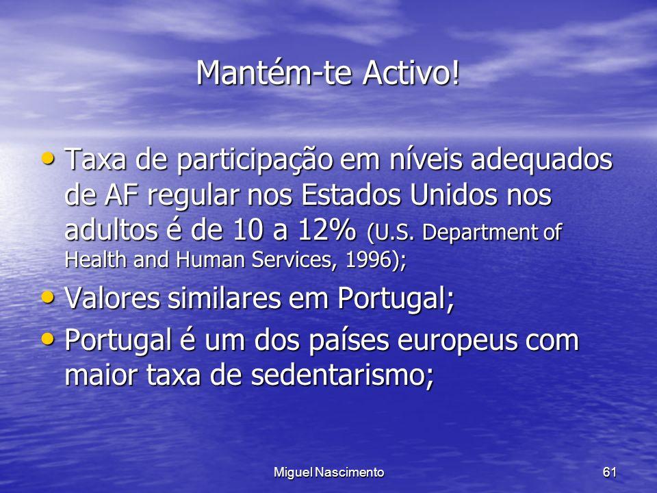 Miguel Nascimento61 Mantém-te Activo! Taxa de participação em níveis adequados de AF regular nos Estados Unidos nos adultos é de 10 a 12% (U.S. Depart
