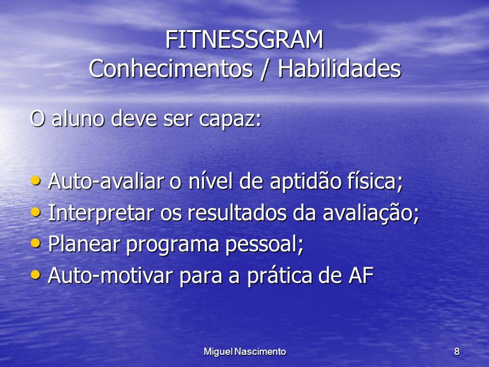 Miguel Nascimento8 FITNESSGRAM Conhecimentos / Habilidades O aluno deve ser capaz: Auto-avaliar o nível de aptidão física; Auto-avaliar o nível de apt