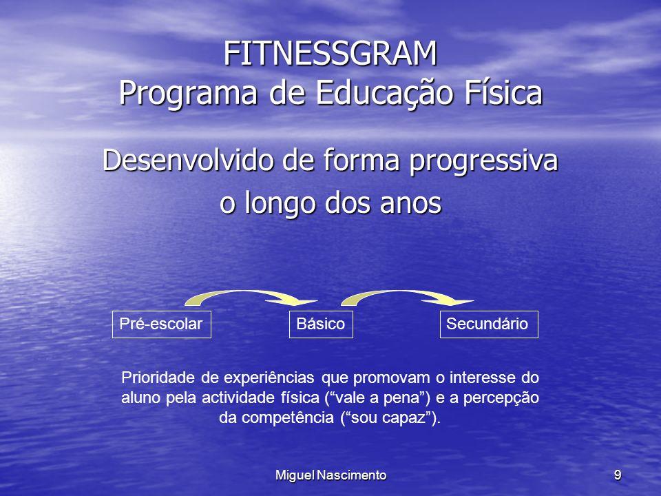 Miguel Nascimento9 FITNESSGRAM Programa de Educação Física Desenvolvido de forma progressiva o longo dos anos Pré-escolarBásicoSecundário Prioridade d