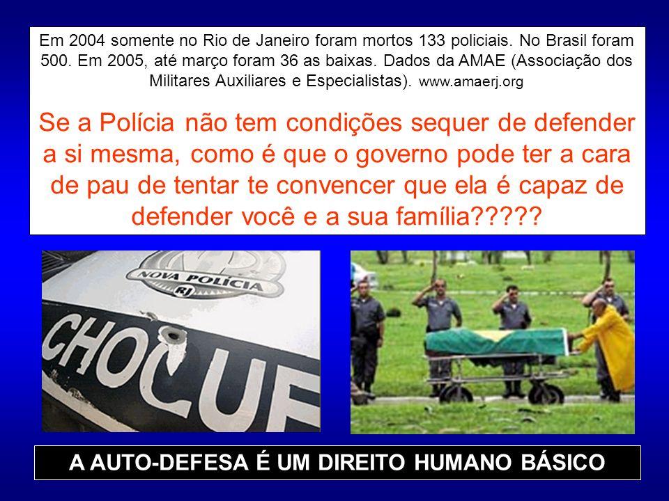 Em 2004 somente no Rio de Janeiro foram mortos 133 policiais. No Brasil foram 500. Em 2005, até março foram 36 as baixas. Dados da AMAE (Associação do