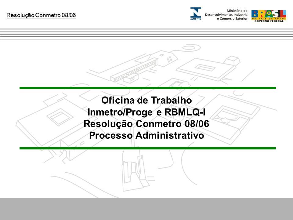 Resolução Conmetro 08/06 Oficina de Trabalho Inmetro/Proge e RBMLQ-I Resolução Conmetro 08/06 Processo Administrativo