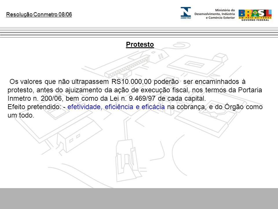 Resolução Conmetro 08/06 Protesto Os valores que não ultrapassem RS10.000,00 poderão ser encaminhados à protesto, antes do ajuizamento da ação de exec