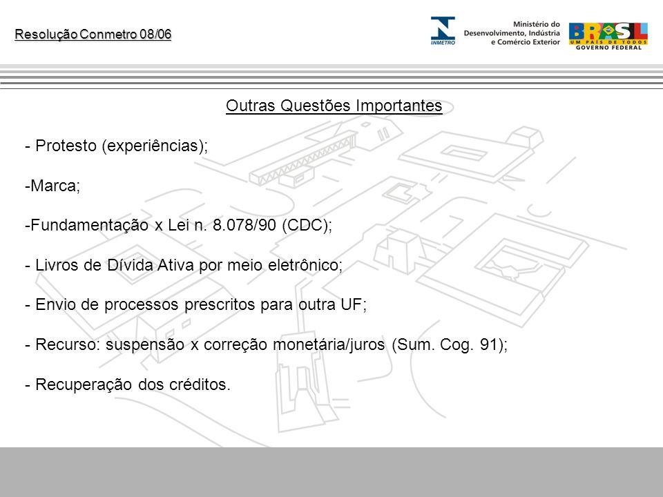 Resolução Conmetro 08/06 Outras Questões Importantes - Protesto (experiências); -Marca; -Fundamentação x Lei n. 8.078/90 (CDC); - Livros de Dívida Ati